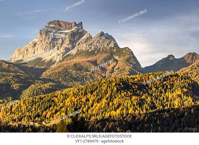 View of mount Pelmo in the fall season,S. Vito di Cadore,Belluno district,Veneto,Italy,Europe