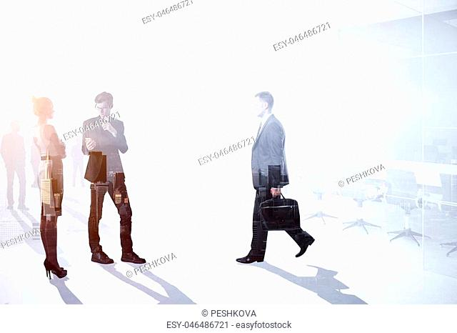 Teamwork, meeting and growth concept. Businesspeople crowd silhouettes on light city office background. Double exposure