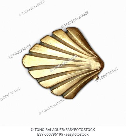 Way of Saint James symbol shell golden metal isolated