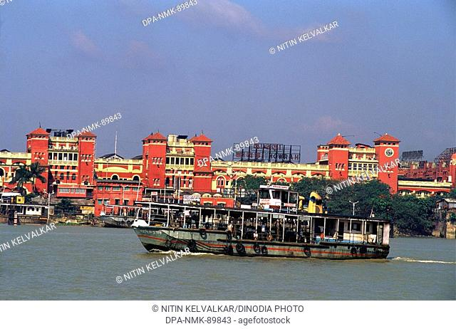 Howrah railway station & ferry service at Hooghly river , Calcutta , West Bengal , India