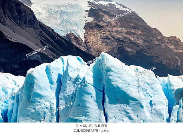 View of Perito Moreno Glacier and mountain in Los Glaciares National Park, Patagonia, Chile
