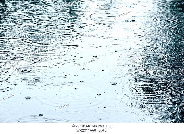 flooded sidewalk with rain puddles