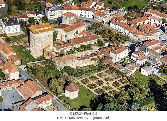 France, Vendee, Bazoges en Pareds, the donjon, the church and the medieval garden (aerial view)