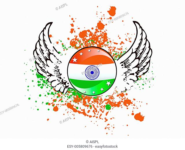 A sign of Indian flag on colorful grunge. vector Illustration