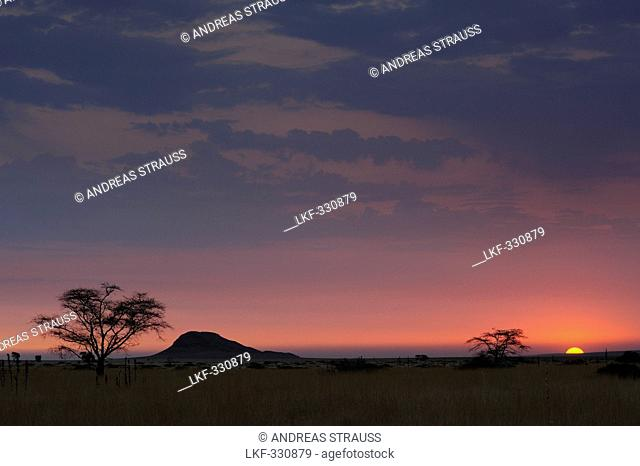Sunset over savannah, near Namib Naucluft National Park, Namib desert, Namibia