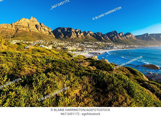 Camps Bay, a beach resort suburb of Cape Town, South Africa (Twelve Apostles mountain in background)