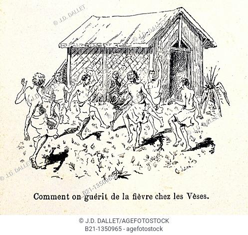 France, Madagascar: 'Comment on guérit de la fièvre chez les Vèses', from the book 'Madagascar, la reine des Iles Africaines', 1883