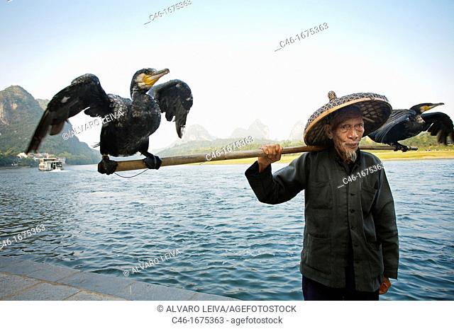 Cormorant fisherman, Yangshuo, Li River, Guangxi, China
