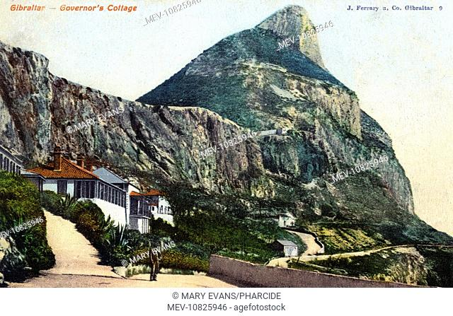Governor's Cottage, Gibraltar, with The Rock above