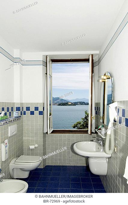 At the Lake Lago Maggiore Piedmont Piemonte Italy Island Isole Borromee Isola dei Pescatori near Stresa room in the famous hotel Verbano