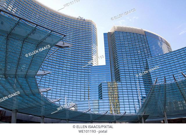 Modern curved glass and steel entrance to the Aria Hotel and Casino in Las Vegas, Nevada, USA