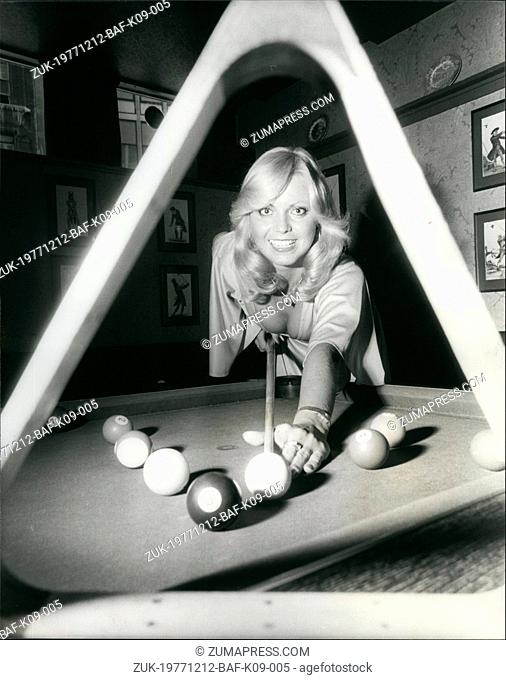 Dec. 12, 1977 - Miss Great Britain Dinah May To Take [art In The First World Eight=-Ball Championships: More than a million pool-room wizards from Australia...