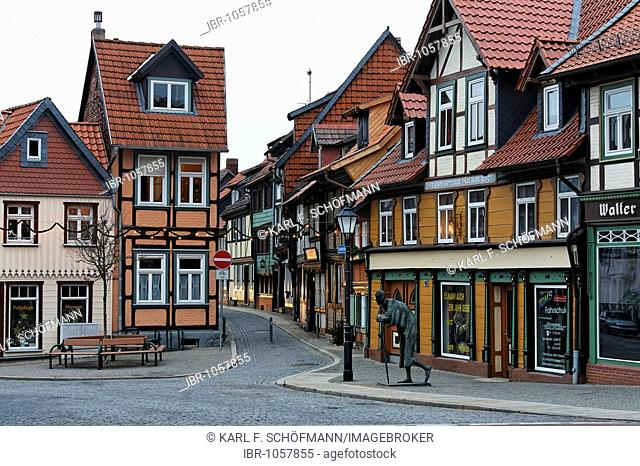 Frame houses on Kochstrasse, Wernigerode old town, Harz, Saxony-Anhalt, Germany, Europe