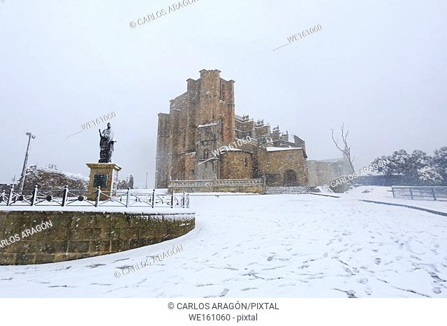 View of the Church of Santa Maria in Castro Urdiales under snowfall, historical image taken on February 28, 2018, first snow in this place for more than 60...