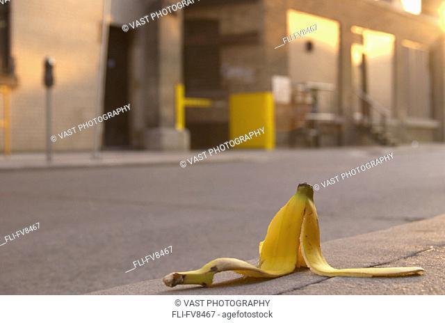 Banana Peel on Sidewalk Toronto Ontario