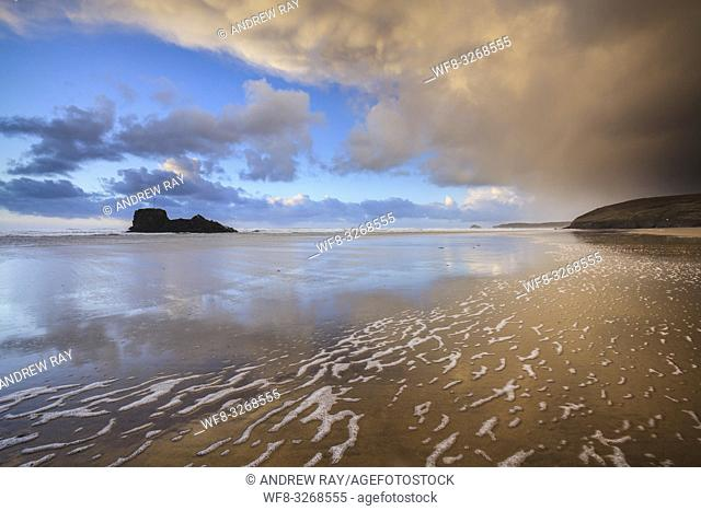 The beach at Perranporth on the north coast of Cornwall, captured on a stormy afternoon in late March