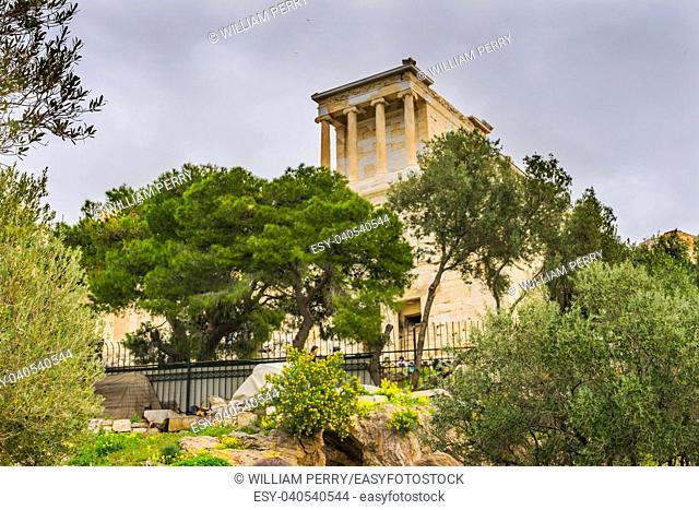 Olive Trees Temple of Athena Nike Propylaea Ancient Entrance Gateway Ruins Acropolis Athens Greece Construction ended in 432 BC Temple built 420 BC