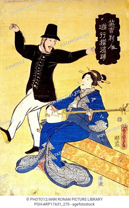 Print on hosho paper, woodcut, colour shows an Englishman dancing in Yokohama. Artist Yoshitora Utagawa (active) 1850-1870