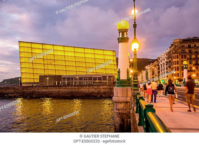 CONTEMPORARY ARCHITECTURE, THE KURSAAL CONVENTION CENTER, KURSALL CUBES, AND LA ZURRIOLA BRIDGE, SAN SEBASTIAN, DONOSTIA, BASQUE COUNTRY, SPAIN