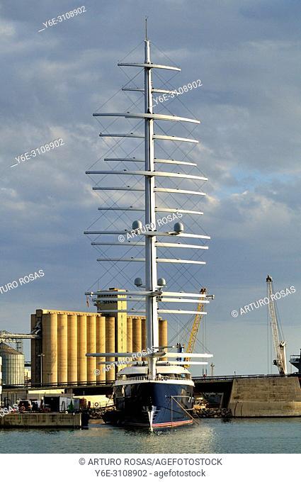 A big sailboat moored in the seaport of Tarragona. Catalonia, Spain