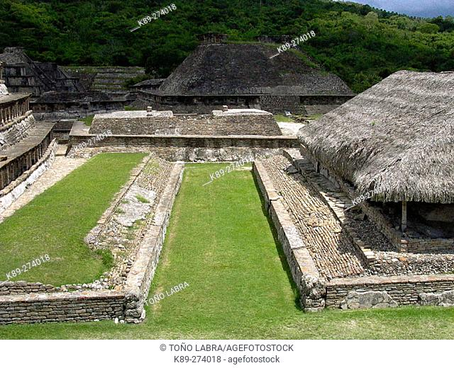 Ball court at the old city of El Tajin. Veracruz state. Mexico