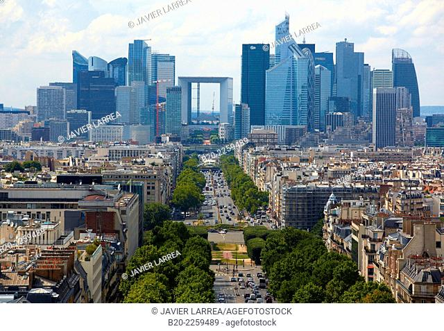 La Defense. View from the Arc de Triomphe. Paris. France. Europe
