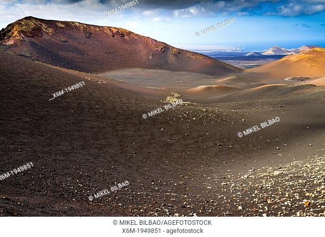 Volcanic landscape. Timanfaya National Park. Lanzarote, Canary Islands, Atlantic Ocean, Spain