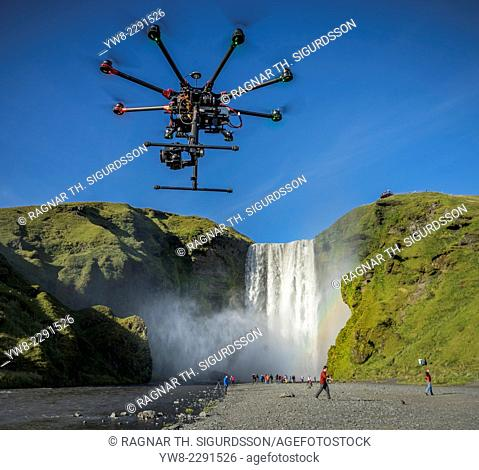 DJI S1000, Radio Controlled Drone flying with a camera, Skogafoss Waterfalls, Iceland