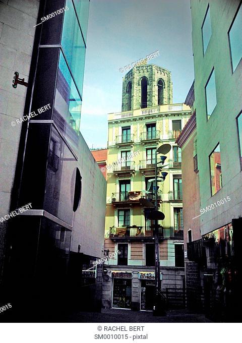 Santa Maria del Pi, view from Les Rambles, Barcelona, Catalonia