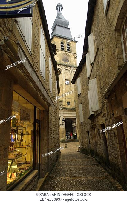 Cathedral Tower, Old Town of Sarlat, Dordogne, Aquitaine, France