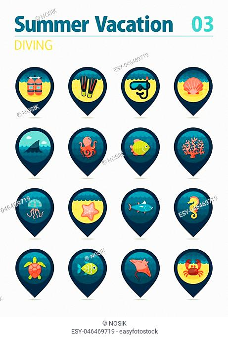 Diving vector pin map icon set. Summer time Map pointer. Map markers. Vacation, eps 10