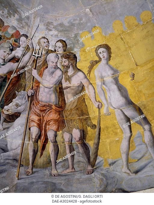 Neptune next to Adam and Eve, frescoes in the gilded tower of the Ligue, Fontainebleau School, Tanlay Castle (16th-17th century), Burgundy, France