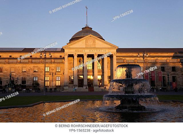 Kurhaus and fountain in sunset light, Wiesbaden, Hesse, Germany