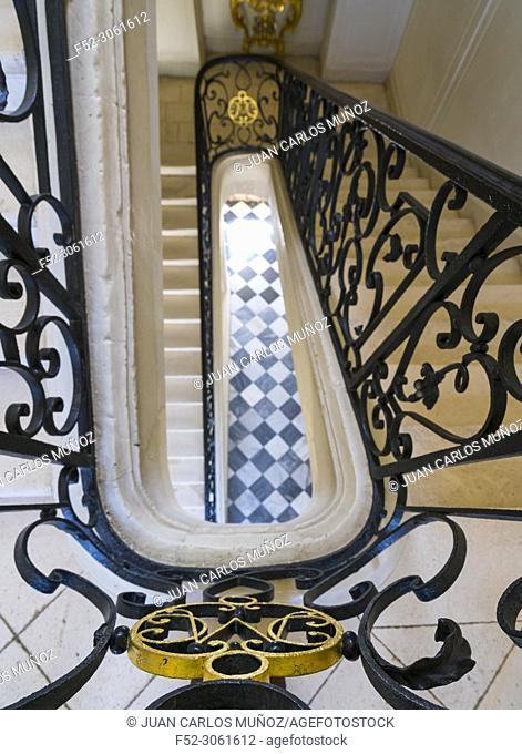 Renaissance staircase, Villandry Castle, Villandry, Indre-et-Loire Department, The Loire Valley, France, Europe