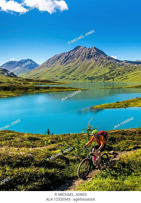 A man riding a mountain bike on the Lost Lake Trail near Seward, Southcentral Alaska, USA