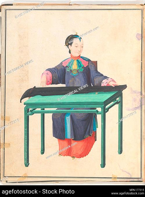 Watercolor of musician playing qin. Date: late 18th century; Geography: China; Culture: Chinese; Medium: Watercolor on paper; Dimensions: Overall: 43
