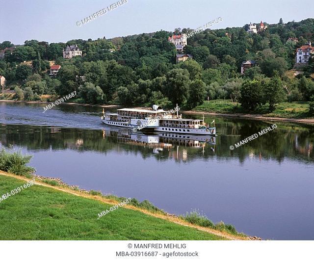 Germany, Saxony, free-mountain, Blasewitz, river Elbe, steamship, tourism, river-shipping, steamers, ship, shipping, trip-ship, Elbe-round trip, historic