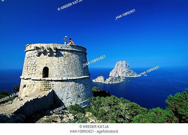 outside, Balearic Islands, outdoors, outside, It Vedra, woman, Ibiza, island, isle, coast, coastal scenery, scenery, people, sea