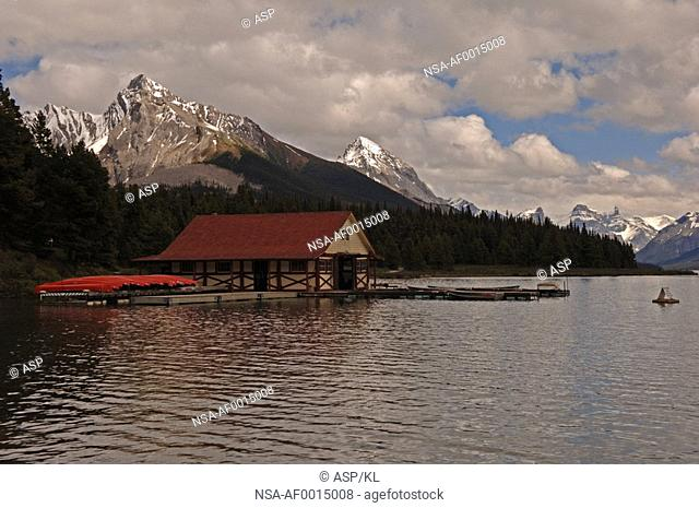 Boathouse on Maligne Lake, Jasper National Park, Canada