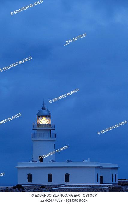 Cavalleria lighthouse at night. Minorca. Balearics islands. Spain. Europe