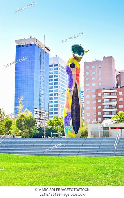Dona i Ocell sculpture by Joan Miró. Joan Miró Park, Barcelona, Catalonia, Spain