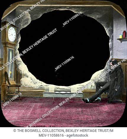 He sleeps - man asleep on chain - black space in kitchen wall. Part of Box 52 Boswell collection. Nursery Rhymes