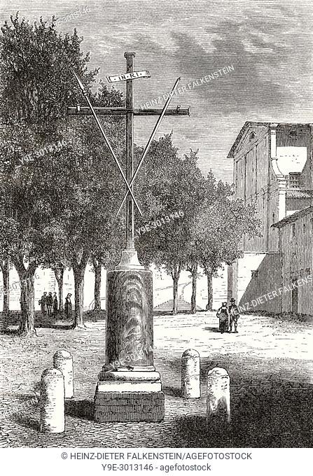 The cross of the capucins, Piazza Barberini, Rome, Italy, 19th Century