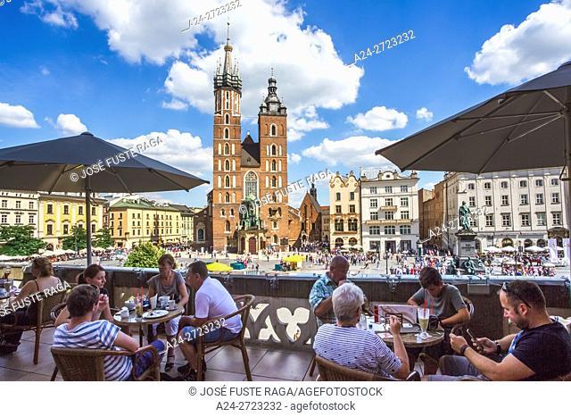 Poland, Krakow City, Market Square,, St. Mary's Basilica