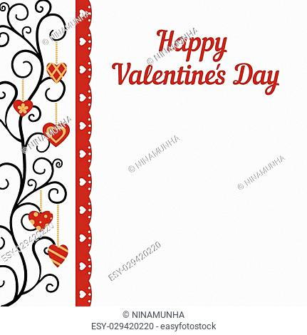 Red hearts Valentines day card on white background