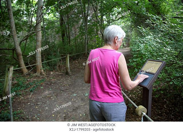 Eastham, Massachusetts - The Buttonbush Trail in Cape Cod National Seashore  The trail has guide ropes and interpretive signs in braille for the visually...
