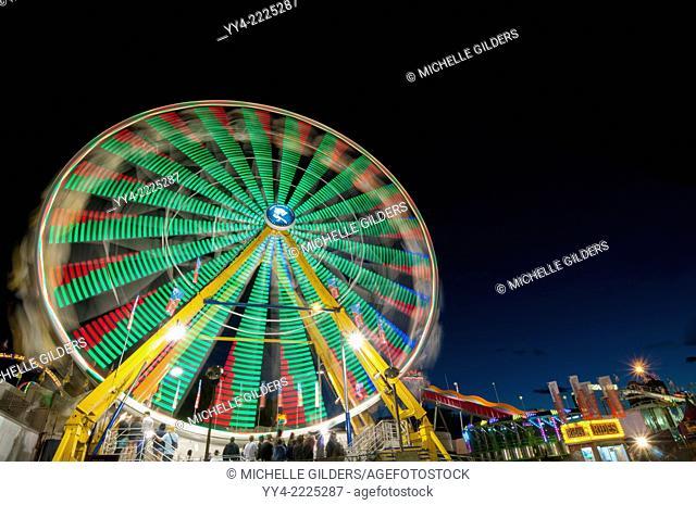 Ferris wheel at night, Calgary Stampede Midway, Calgary, Alberta, Canada
