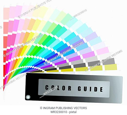 Color guide swatch with rainbow range of colours