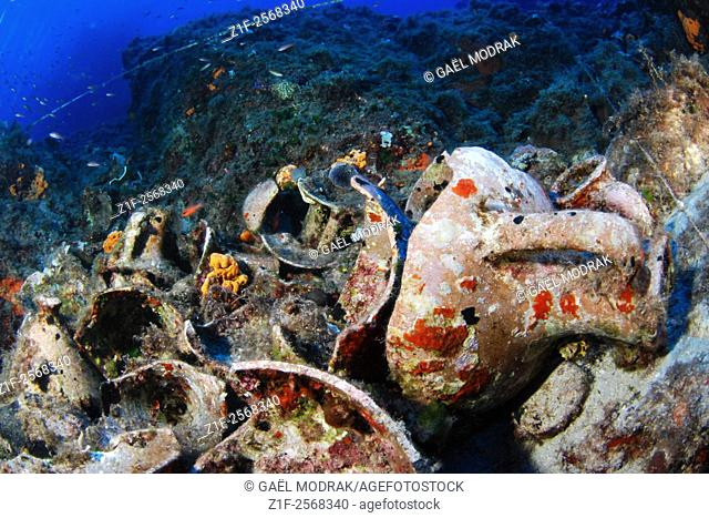 Remains of an antique wreck in Cyclades