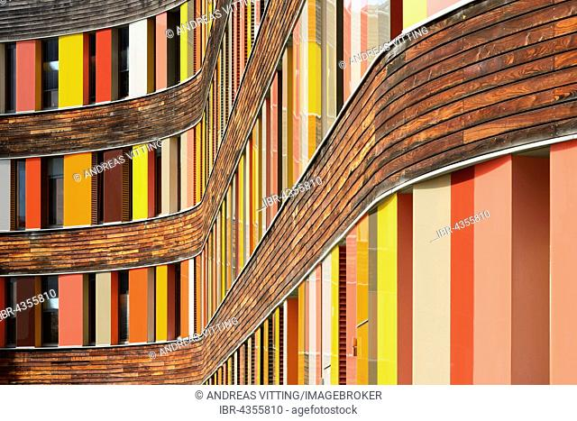 Colorful facade, Federal Environment Agency, detail of the facade, built in 2005, sauerbruch & hutton architekten, Dessau, Saxony-Anhalt, Germany